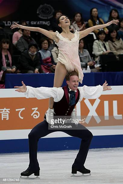 Madison Chock and Evan Bates of the USA compete in the Ice Dance Free Dance during ISU World Figure Skating Championships at Saitama Super Arena on...