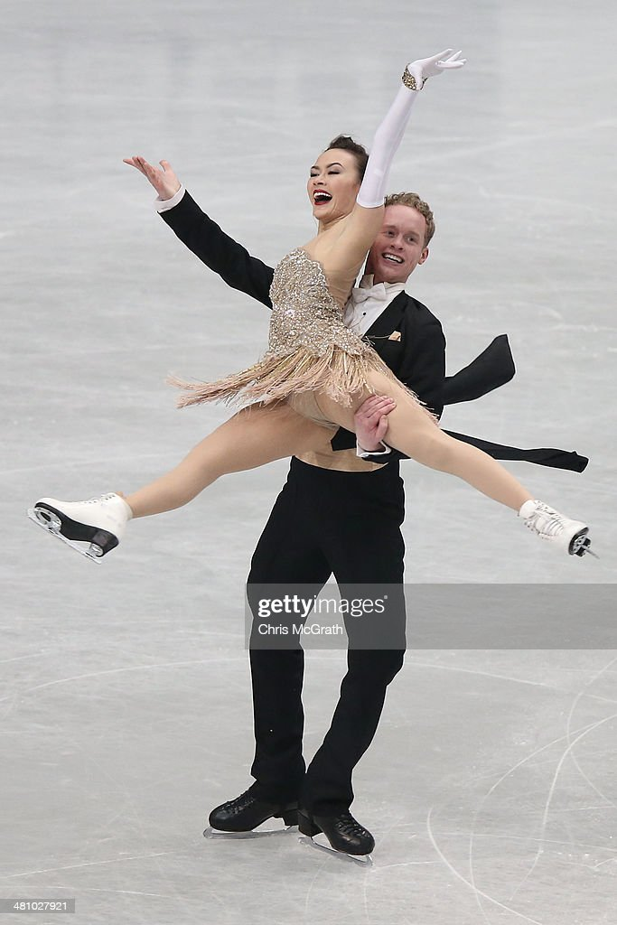<a gi-track='captionPersonalityLinkClicked' href=/galleries/search?phrase=Madison+Chock&family=editorial&specificpeople=6471803 ng-click='$event.stopPropagation()'>Madison Chock</a> and <a gi-track='captionPersonalityLinkClicked' href=/galleries/search?phrase=Evan+Bates&family=editorial&specificpeople=4839407 ng-click='$event.stopPropagation()'>Evan Bates</a> of the USA compete in the Ice Dance Short Dance during ISU World Figure Skating Championships at Saitama Super Arena on March 28, 2014 in Saitama, Japan.