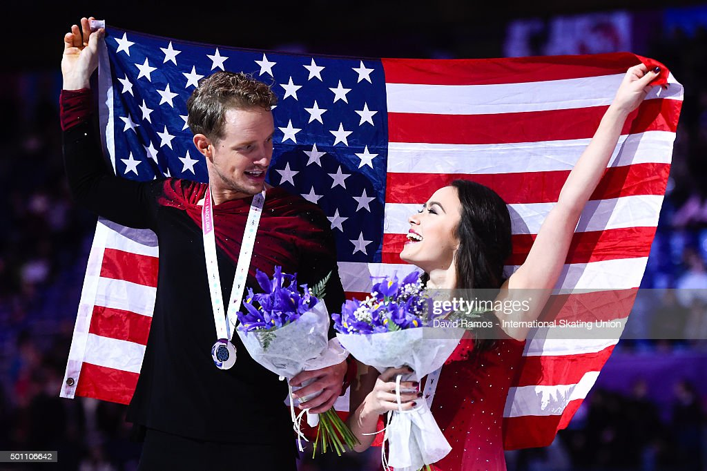 Madison Chock and Evan Bates of United States and silver medal pose during the Pairs Dance medals ceremony during day three of the ISU Grand Prix of...