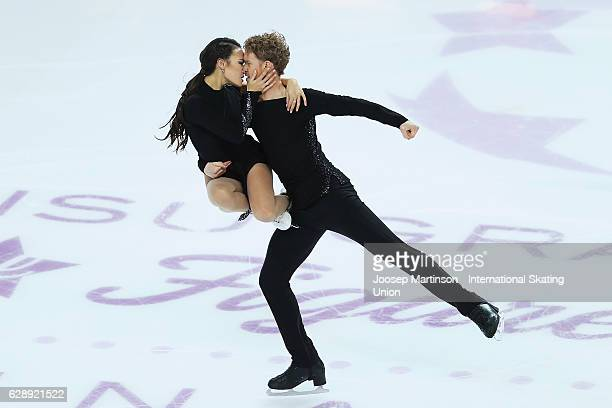 Madison Chock and Evan Bates of United States compete during Senior Ice Dance Free Dance on day three of the ISU Junior and Senior Grand Prix of...
