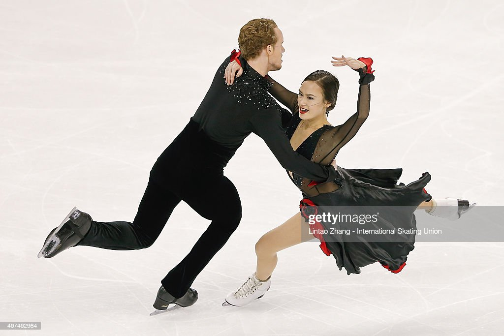 Madison Chock and Evan Bates of United States compete in the Ice Dance Short Dance event on day one of the 2015 ISU World Figure Skating...