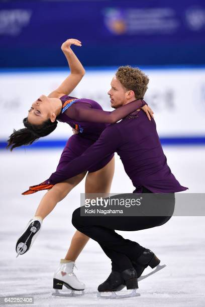 Madison Chock and Evan Bates of United States compete in the Ice Dance Free Dance during ISU Four Continents Figure Skating Championships Gangneung...