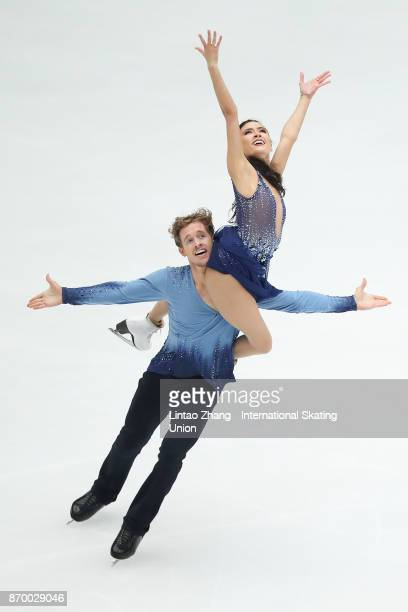 Madison Chock and Evan Bates of United States compete in the Ice Dance Free Dance on day two of Audi Cup of China ISU Grand Prix of Figure Skating...