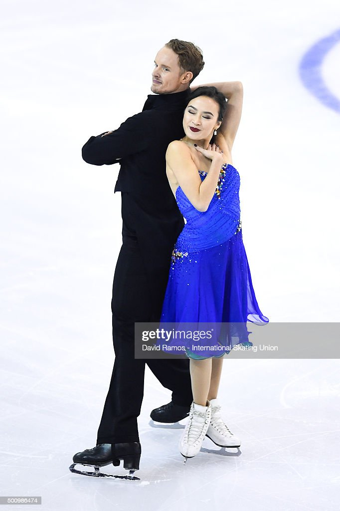 Madison Chock and Evan Bates of United States perform during the Dance Short program during day two of the ISU Grand Prix of Figure Skating Final...