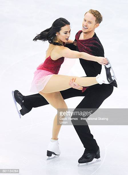 Madison Chock and Evan Bates of United States performs during the Pairs Dance Free program during day three of the ISU Grand Prix of Figure Skating...