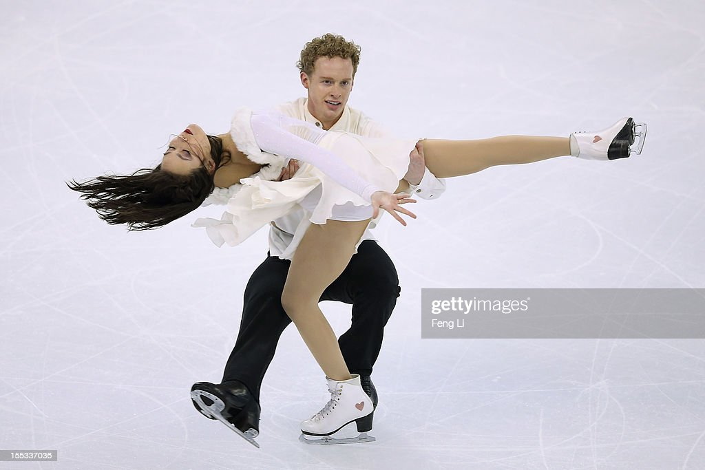 Madison Chock and Evan Bates of United States skate in Ice Dance Free Dance during Cup of China ISU Grand Prix of Figure Skating 2012 at the Oriental...