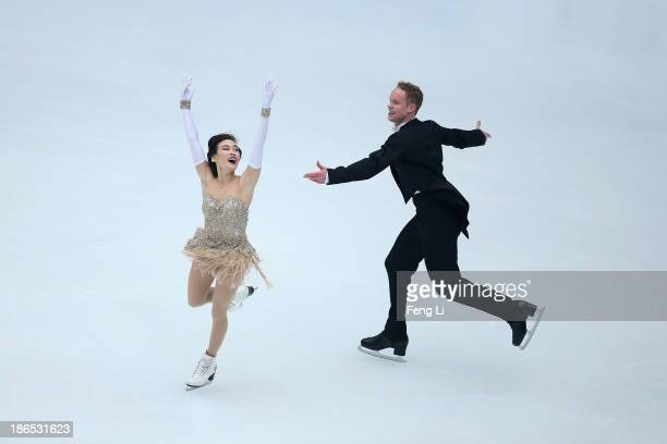 Madison Chock and Evan Bates of United States skate in the Ice Dancing Short Dance during Lexus Cup of China ISU Grand Prix of Figure Skating 2013 at...