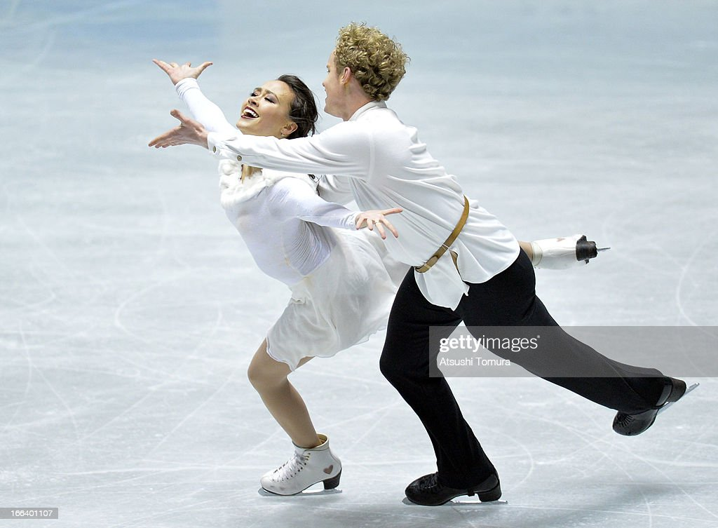 Madison Chock and Evan Bates of USA compete in the ice dance free dance during day two of the ISU World Team Trophy at Yoyogi National Gymnasium on...