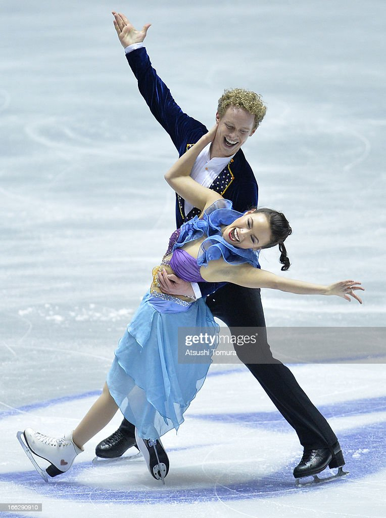 <a gi-track='captionPersonalityLinkClicked' href=/galleries/search?phrase=Madison+Chock&family=editorial&specificpeople=6471803 ng-click='$event.stopPropagation()'>Madison Chock</a> and <a gi-track='captionPersonalityLinkClicked' href=/galleries/search?phrase=Evan+Bates&family=editorial&specificpeople=4839407 ng-click='$event.stopPropagation()'>Evan Bates</a> of USA compete in the ice dance short dance during day one of the ISU World Team Trophy at Yoyogi National Gymnasium on April 11, 2013 in Tokyo, Japan.