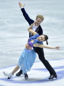 Madison Chock and Evan Bates of USA compete in the ice dance short dance during day one of the ISU World Team Trophy at Yoyogi National Gymnasium on...