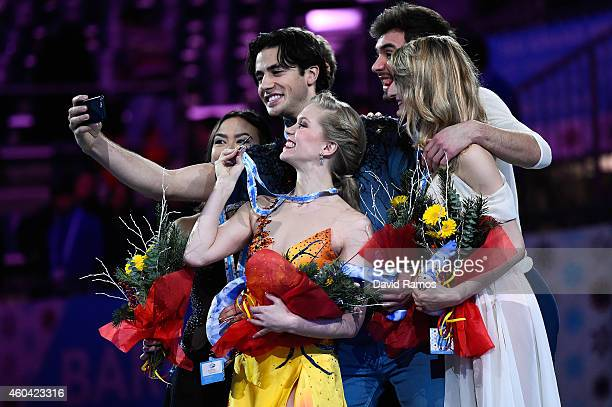 Madison Chock and Evan Bates of USA Kaitlyn Weaver and Andrew Poje of Canada and Gabriella Papadakis and Guillaume Cizeron of France make a selfie...