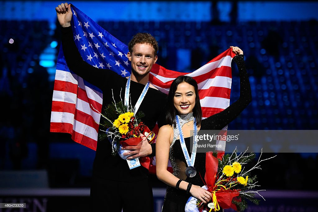 <a gi-track='captionPersonalityLinkClicked' href=/galleries/search?phrase=Madison+Chock&family=editorial&specificpeople=6471803 ng-click='$event.stopPropagation()'>Madison Chock</a> and <a gi-track='captionPersonalityLinkClicked' href=/galleries/search?phrase=Evan+Bates&family=editorial&specificpeople=4839407 ng-click='$event.stopPropagation()'>Evan Bates</a> of USA pose for the media during the medals ceremony during day three of the ISU Grand Prix of Figure Skating Final 2014/2015 at Barcelona International Convention Centre on December 13, 2014 in Barcelona, Spain.