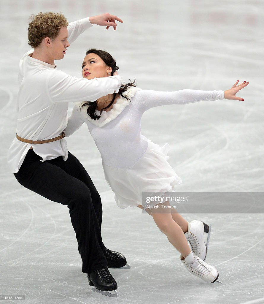 Madison Chock and Evan Bates of USA skate in the Ice Dance Free Dance during day three of the ISU Four Continents Figure Skating Championships at Osaka Municipal Central Gymnasium on February 10, 2013 in Osaka, Japan.