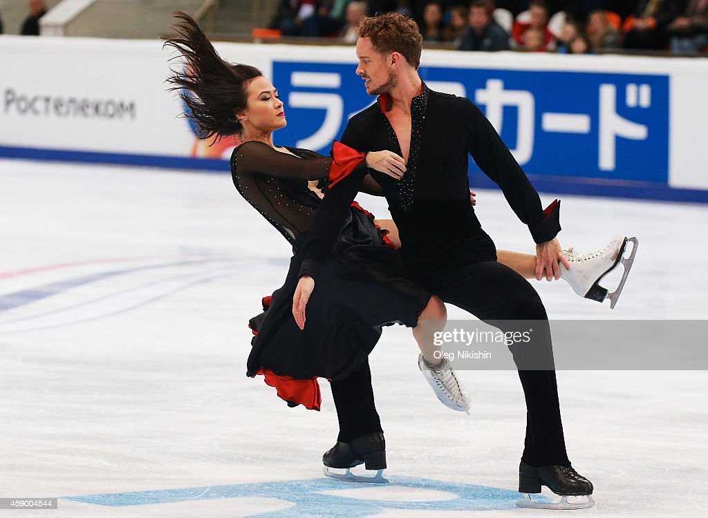 Madison Chock and Evan Bates of USA skate in the Ice Dance Free Dance during ISU Rostelecom Cup of Figure Skating 2014 on November 14 2014 in Moscow...