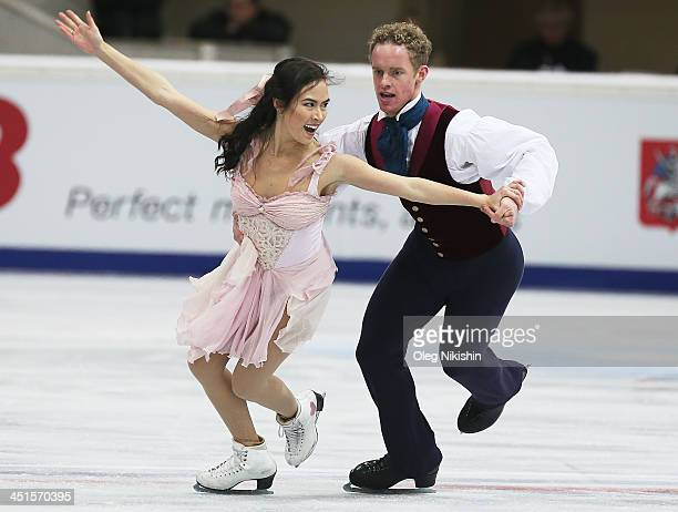 Madison Chock and Evan Bates of USA skates in the Ice Dance Free Dance during ISU Rostelecom Cup of Figure Skating 2013 on November 23 2013 in Moscow...