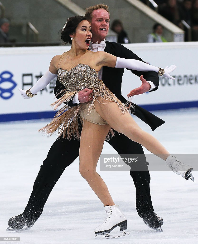 Madison Chock and Evan Bates of USA skates in the Ice Dance Short Dance during ISU Rostelecom Cup of Figure Skating 2013 on November 22 2013 in...