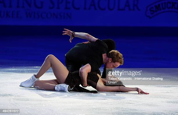 Madison Chock and Evan Bates of USA skates in the Smucker's Skating Spectacular on October 25 2015 in Milwaukee Wisconsin