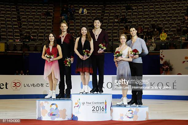 Madison Chock Evan Bates of United States Maia Shibutani and Alex Shibutani of United States Kaitlyn Weaver and Andrew Poje of Canada stand on podium...
