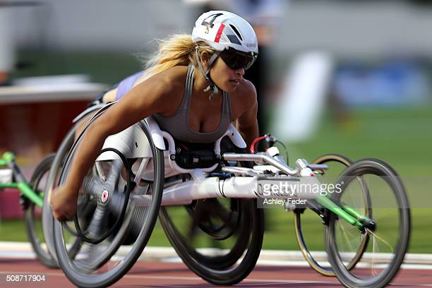 Madison de Rozario of WAIS competes in the womens 1500 m wheelchair race during the IPC Athletics Grand Prix on February 6 2016 in Canberra Australia