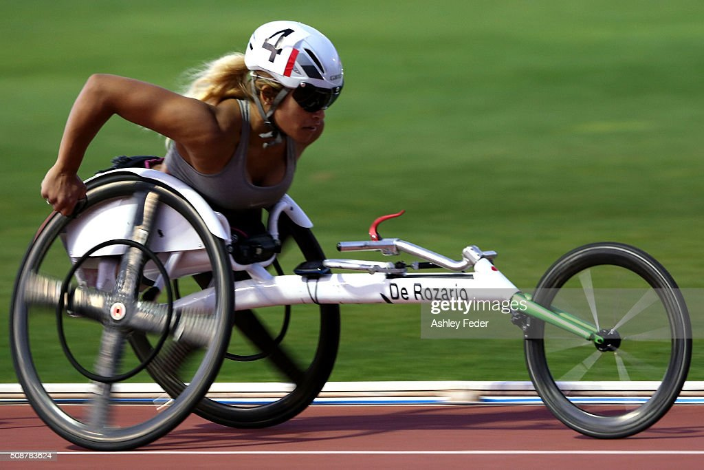 Madison de Rozario of WAIS competes in the womens 1500 m wheelchair race during the IPC Athletics Grand Prix on February 6, 2016 in Canberra, Australia.