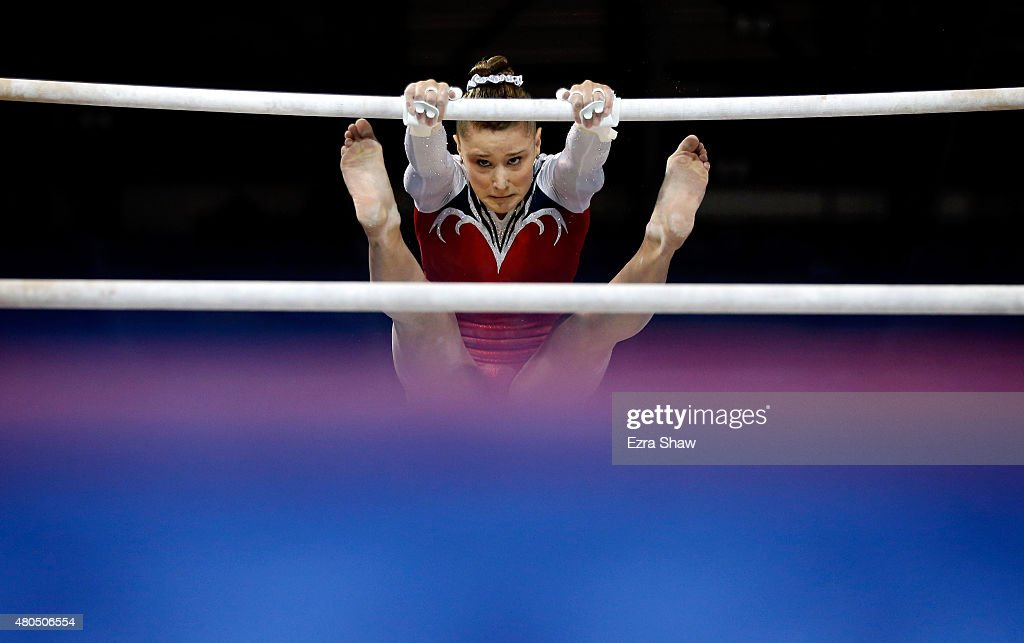 Madison Desch of the United States competes on the uneven bars during the women's artistic gymnastics team final and qualifications on Day 2 of the Toronto 2015 Pan Am Games at Toronto Coliseum on July 12, 2015 in Toronto, Canada.