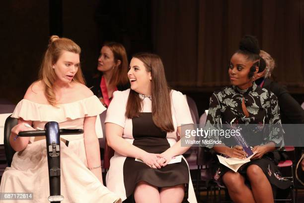 Madison Ferris Beanie Feldstein and Denee Benton on stage at the The Lilly Awards at Playwrights Horizons on May 22 2017 in New York City