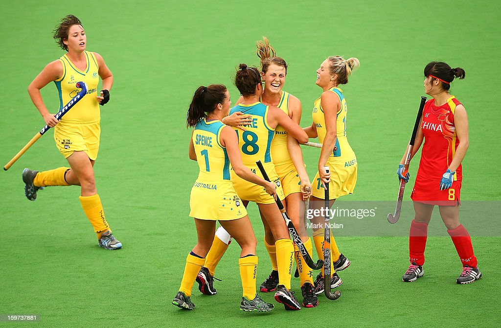 Madison Fitzpatrick of Australia is congratulated by team mates after scoring a goal in the Women's Hockey Final between Australia and China at Sydney Olympic Park Hockey Centre on January 20, 2013 in Sydney, Australia.