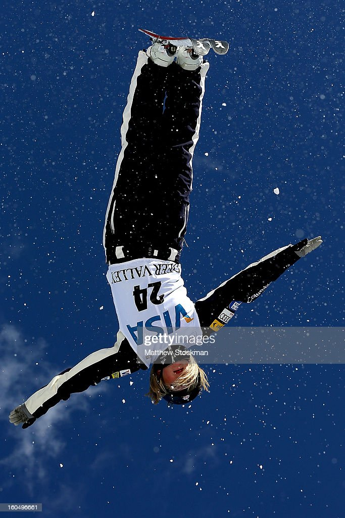 Madison Gorelik #24 jumps while training for the Ladies Aerials during the Visa Freestyle International at Deer Valley on February 1, 2013 in Park City, Utah.