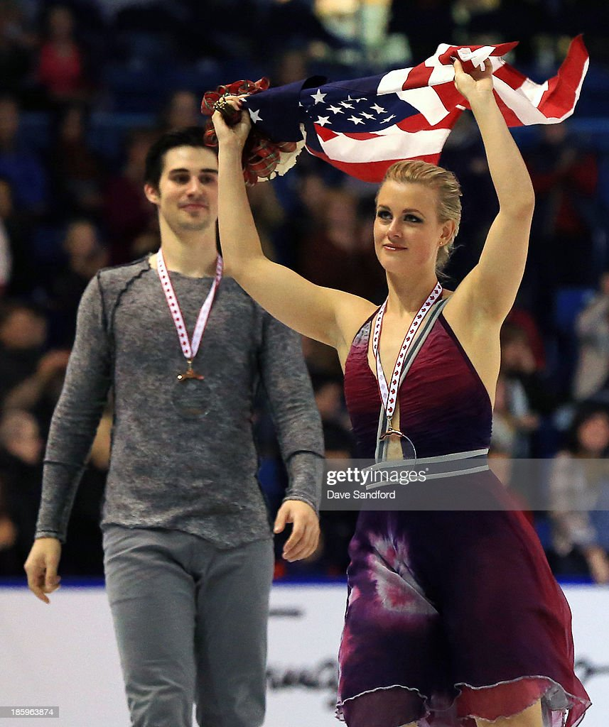 Madison Hubbell (R) and Zachary Donohue of the United States celebrate their bronze medal win in the ice dance free program on day two at the ISU GP 2013 Skate Canada International at Harbour Station on October 26, 2013 in Saint John, New Brunswick, Canada.