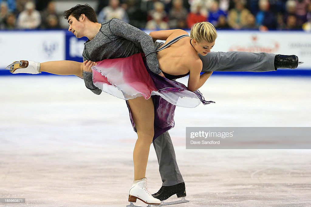 Madison Hubbell and Zachary Donohue of the United States skate during the ice dance free program on day two at the ISU GP 2013 Skate Canada International at Harbour Station on October 26, 2013 in Saint John, New Brunswick, Canada.