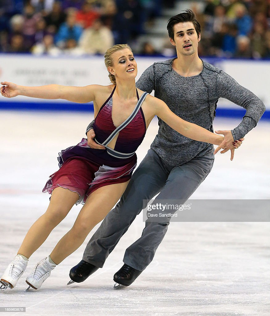 Madison Hubbell (L) and Zachary Donohue of the United States skate during the ice dance free program on day two at the ISU GP 2013 Skate Canada International at Harbour Station on October 26, 2013 in Saint John, New Brunswick, Canada.