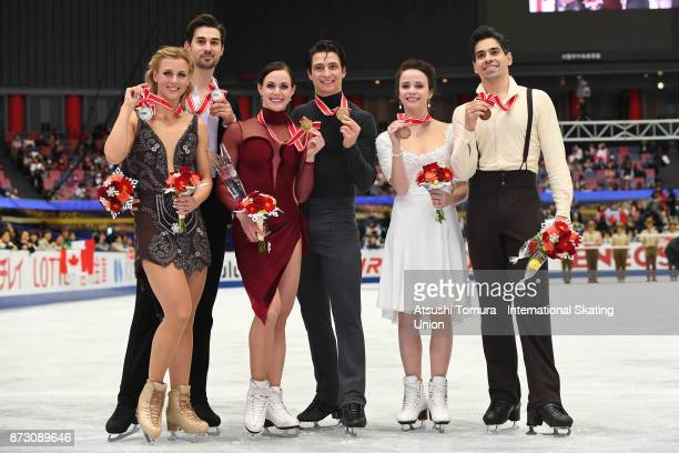 Madison Hubbell and Zachary Donohue of the USA Tessa Virtue and Scott Moir of Canada Anna Cappellini and Luca Lanotte of Italy pose wuth their medals...