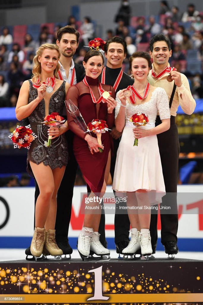 Madison Hubbell and Zachary Donohue of the USA (silcer), Tessa Virtue and Scott Moir of Canada (gold), Anna Cappellini and Luca Lanotte of Italy (bronze) pose on the podium during the ISU Grand Prix of Figure Skating at Osaka municipal central gymnasium on November 12, 2017 in Osaka, Japan.
