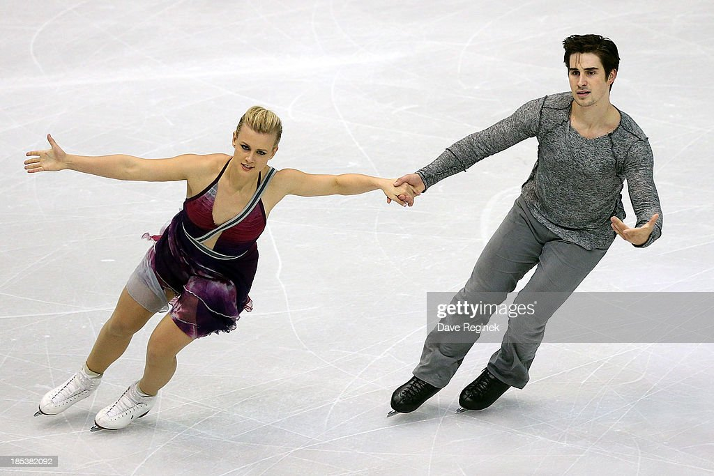 <a gi-track='captionPersonalityLinkClicked' href=/galleries/search?phrase=Madison+Hubbell&family=editorial&specificpeople=5676104 ng-click='$event.stopPropagation()'>Madison Hubbell</a> (L) and Zachary Donohue perform during the free dance of day two at Skate America at Joe Louis Arena on October 19, 2013 in Detroit, Michigan.