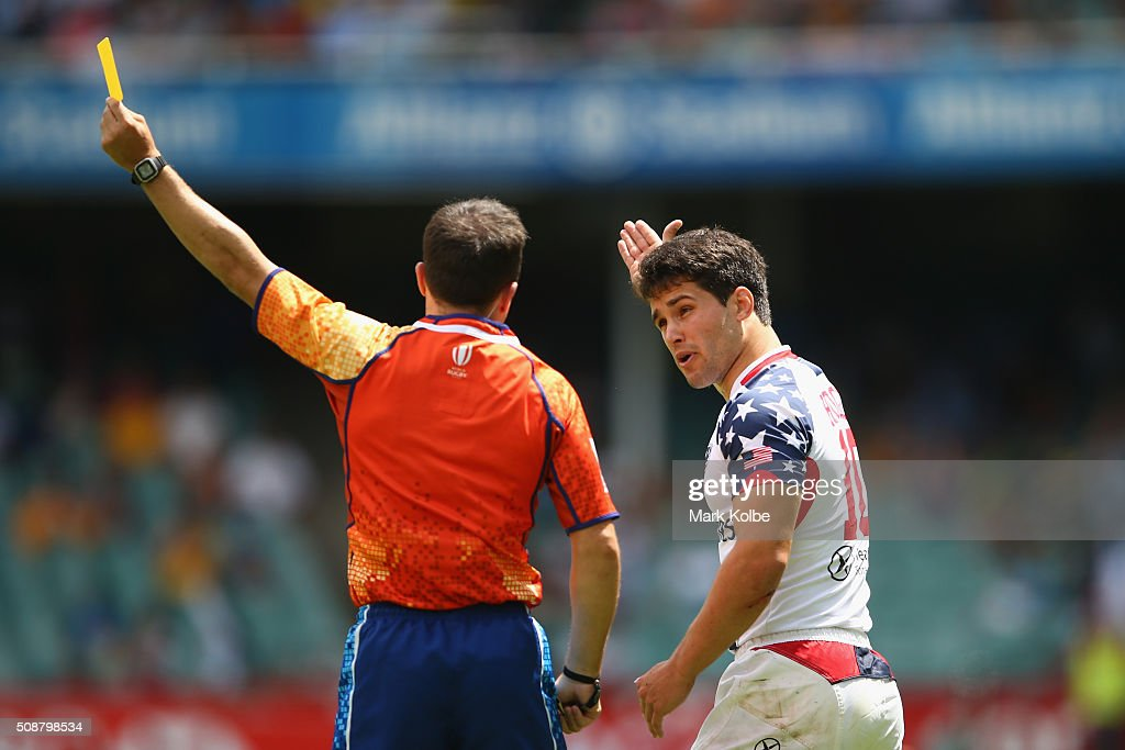 Madison Hughes of the United States of America is given a yellow card byt the referee during the 2016 Sydney Sevens cup quarter final match between New Zealand and the United States of America at Allianz Stadium on February 7, 2016 in Sydney, Australia.