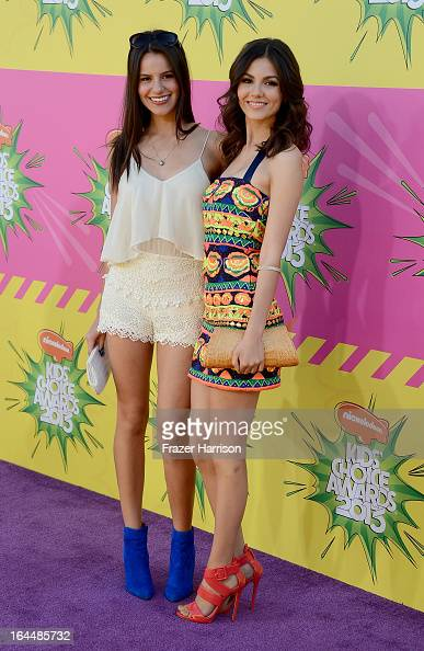 Madison Justice and actress Victoria Justice arrive at Nickelodeon's 26th Annual Kids' Choice Awards at USC Galen Center on March 23 2013 in Los...