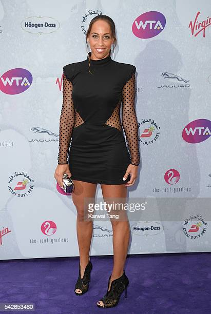Madison Keys arrives for the WTA PreWimbledon Party at Kensington Roof Gardens on June 23 2016 in London England