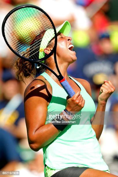 Madison Keys celebrates match point against Mariana DuqueMarino of Spain during the BNP Paribas Open at the Indian Wells Tennis Garden on March 11...