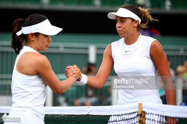 Madison Keys of the United States and Nao Hibino of Japan shake hands after their Ladies Singles first round match day one of the Wimbledon Lawn...
