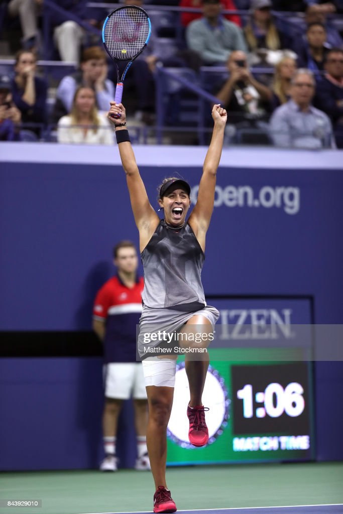 Madison Keys of the United States celebrates after defeating CoCo Vandeweghe of the United States in her Women's Singles Semifinal match on Day Eleven of the 2017 US Open at the USTA Billie Jean King National Tennis Center on September 7, 2017 in the Flushing neighborhood of the Queens borough of New York City. Madison Keys defeated CoCo Vandeweghe in the second set with a score of 6-1, 6-2.