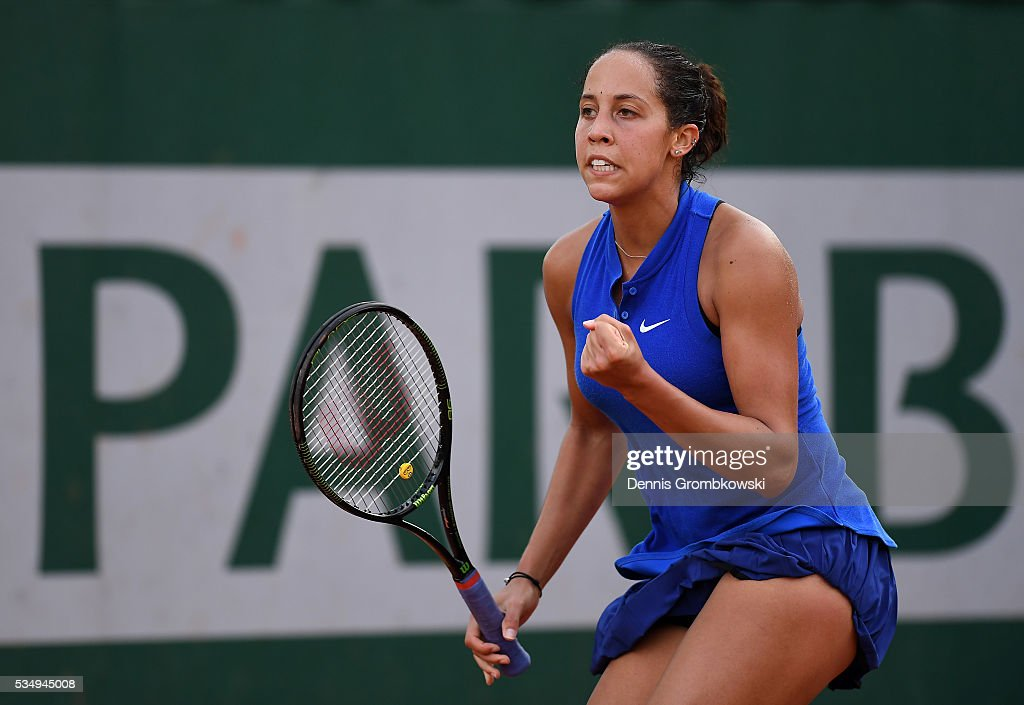 <a gi-track='captionPersonalityLinkClicked' href=/galleries/search?phrase=Madison+Keys&family=editorial&specificpeople=5965706 ng-click='$event.stopPropagation()'>Madison Keys</a> of the United States celebrates during the Ladies Singles third round match against Monica Puig of Puerto Rica on day seven of the 2016 French Open at Roland Garros on May 28, 2016 in Paris, France.