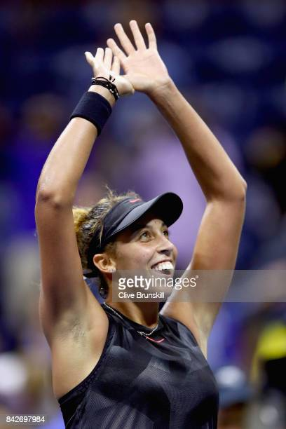 Madison Keys of the United States celebrates her win over Elina Svitolina of Ukraine during their women's singles fourth round match on Day Eight of...