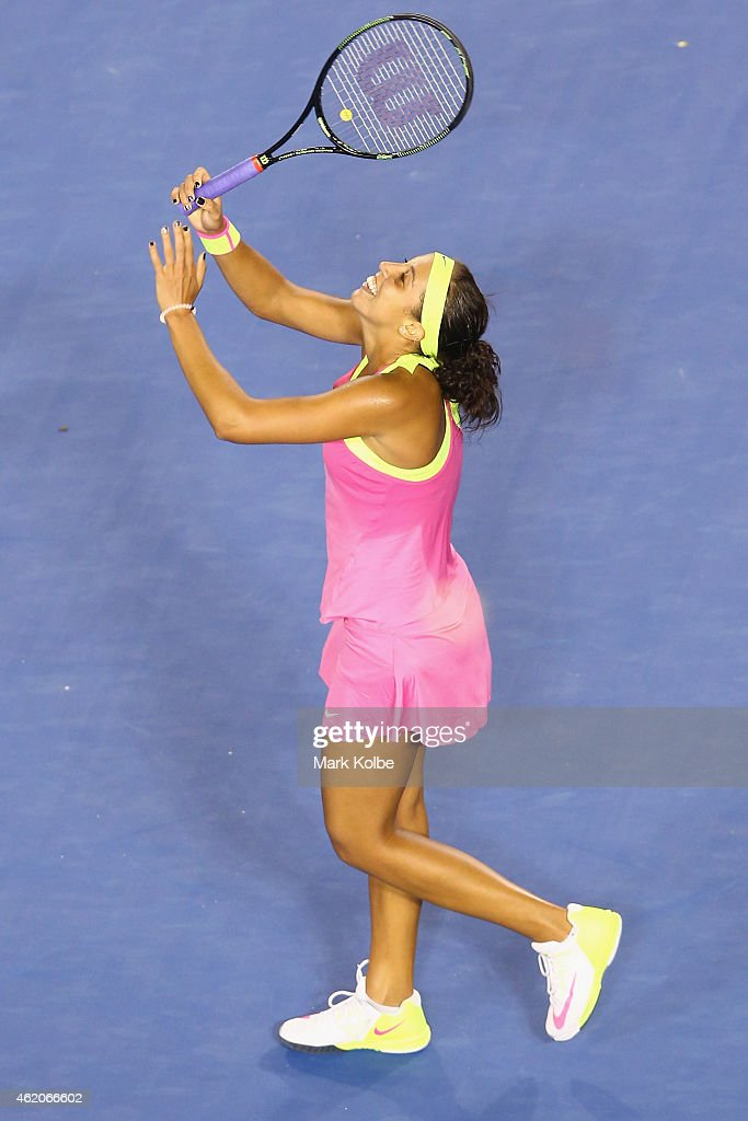 Madison Keys of the United States celebrates winning her third round match against Petra Kvitova of the Czech Republi during day six of the 2015 Australian Open at Melbourne Park on January 24, 2015 in Melbourne, Australia.