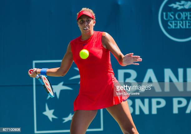 Madison Keys of the United States gets set to hit the ball back over the net during the WTA Tour Bank of the West Classic final match at Taube Family...