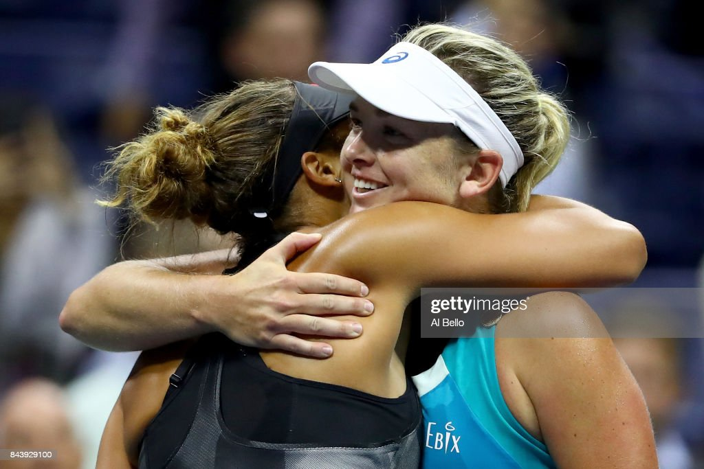 Madison Keys of the United States hugs CoCo Vandeweghe of the United States after their Women's Singles Semifinal match on Day Eleven of the 2017 US Open at the USTA Billie Jean King National Tennis Center on September 7, 2017 in the Flushing neighborhood of the Queens borough of New York City. Madison Keys defeated CoCo Vandeweghe in the second set with a score of 6-1, 6-2.