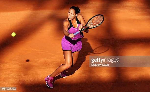 Madison Keys of the United States in action against Timea Babos of Hungary during day five of The Internazionali BNL d'Italia 2016 on May 12 2016 in...