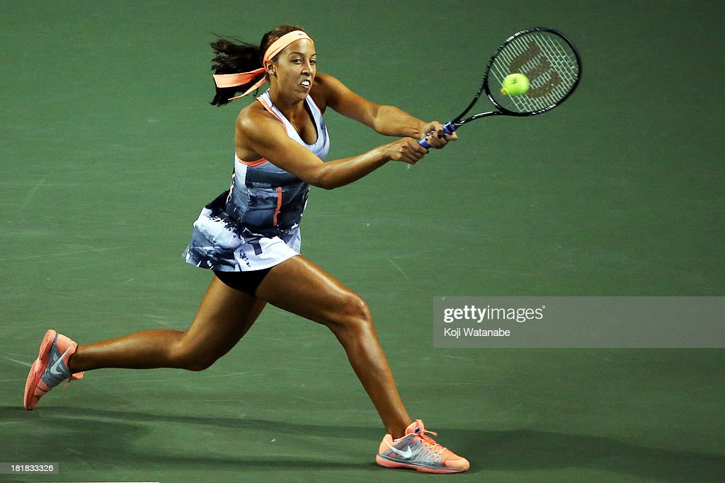 <a gi-track='captionPersonalityLinkClicked' href=/galleries/search?phrase=Madison+Keys&family=editorial&specificpeople=5965706 ng-click='$event.stopPropagation()'>Madison Keys</a> of the United States in action during her women's singles third round match against Petra Kvitova of Czech Republic during day five of the Toray Pan Pacific Open at Ariake Colosseum on September 26, 2013 in Tokyo, Japan.