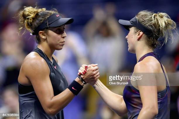 Madison Keys of the United States is congratulated by Elina Svitolina of Ukraine after their match during their women's singles fourth round match on...