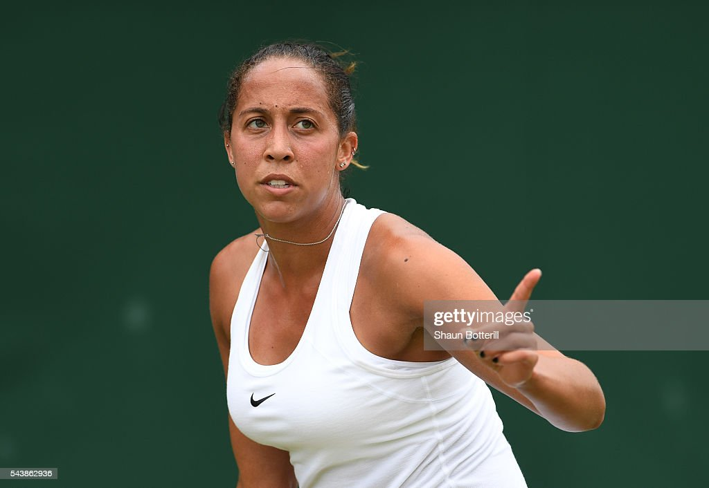 <a gi-track='captionPersonalityLinkClicked' href=/galleries/search?phrase=Madison+Keys&family=editorial&specificpeople=5965706 ng-click='$event.stopPropagation()'>Madison Keys</a> of The United States looks on during the Ladies Singles second round match against Kirsten Flipkens of Belgium on day four of the Wimbledon Lawn Tennis Championships at the All England Lawn Tennis and Croquet Club on June 30, 2016 in London, England.