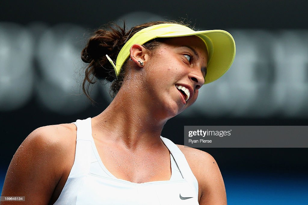 Madison Keys of the United States of America reacts after a shot in her third round match against Angelique Kerber of Germany during day five of the 2013 Australian Open at Melbourne Park on January 18, 2013 in Melbourne, Australia.